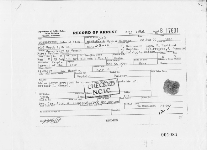 This Record of Arrest from August 22, 1970, shows Ed Poindexter was arrested for conspiracy to commit murder and then released for lack of evidence before being arrested a second time in the Minard murder case. (credit: Omaha Police Department)