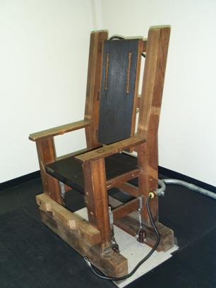 Nebraska's electric chair in which Douglas County Attorney Donald Knowles wanted to execute Mondo and Ed Poindexter. The electric chair was used to threaten Duane Peak into cooperation with prosecutors. (credit: Nebraska Department of Corrections)