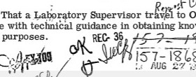 "J. Edgar Hoover read and approved of the plot to withhold a formal laboratory report from August 27, 1970, signing the memorandum ""OK"" and adding his distinctive initial ""H"" at the bottom (credit: Federal Bureau of Investigation)"