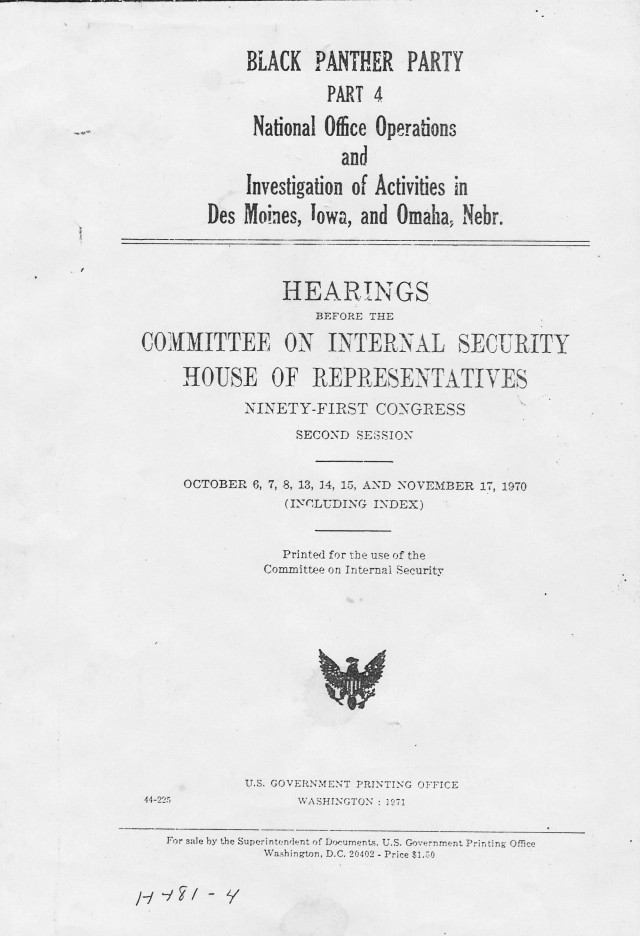 House committee hearing report cover from November 1970