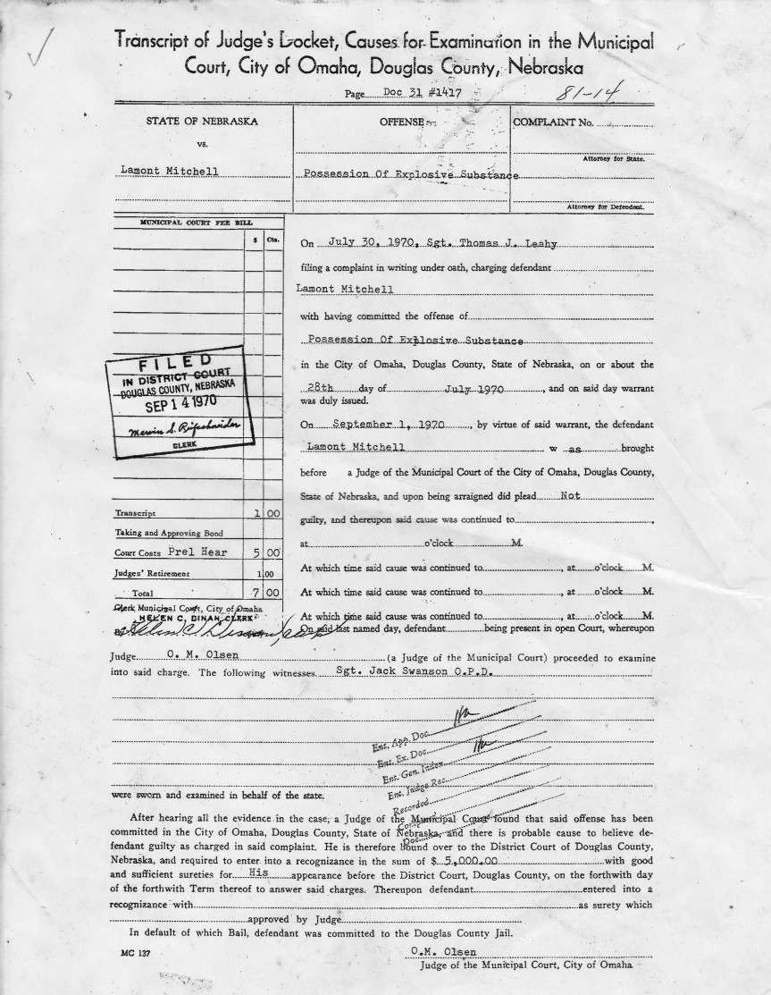 Lamont Mitchell Omaha Police Department Arrest Record 9/1/1970