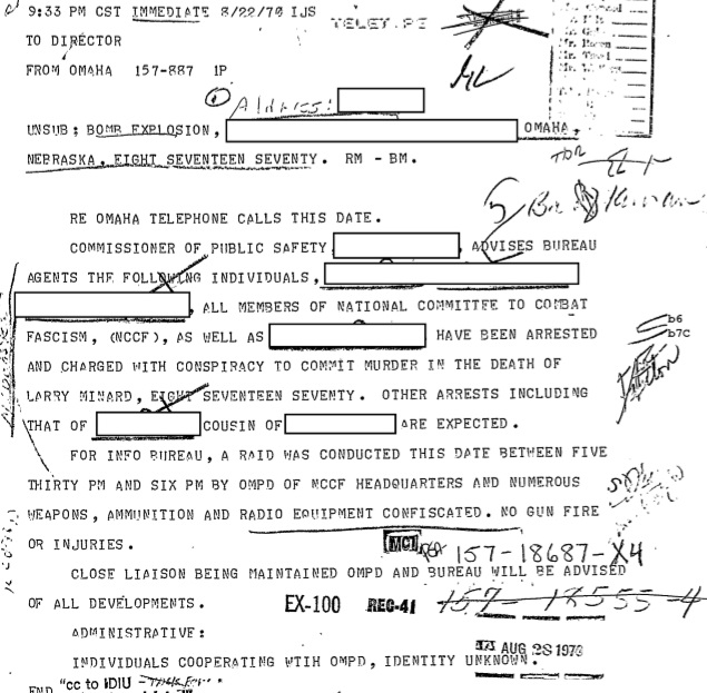 An August 22, 1970, teletype from the Omaha FBI office to J. Edgar Hoover advising that the Public Safety director was providing the FBI with information and showing that there was close cooperation between the Bureau and the police. Chief Richard Anderson would later deny any knowledge of FBI involvement in the investigation. (credit: Federal Bureau of Investigation)