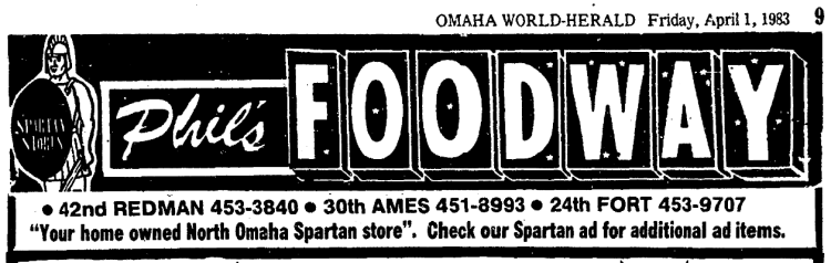 Phils Foodway North Omaha Nebraska 1983 ad