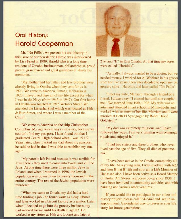 Oral History Harold Cooperman