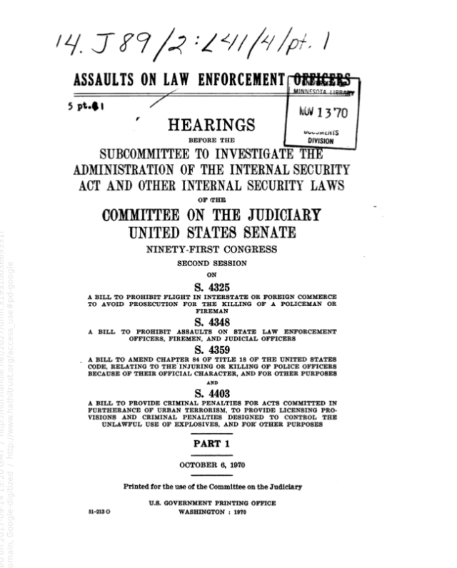 The cover of a Senate committee hearing report focused on the Black Panther Party in Omaha and Des Moines by a subcommittee of the Senate Judiciary Committee from 1970.