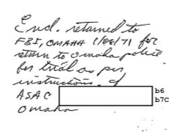Handwritten note from FBI January 1971. (credit: Federal Bureau of Investigation)