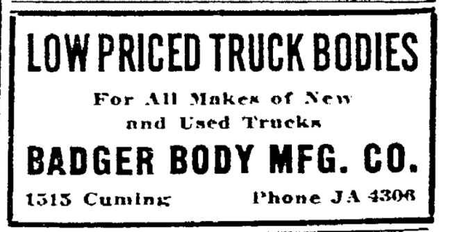 This is a 1924 ad for the Badger Body Mfg. Company.
