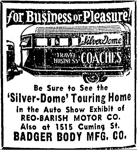 1934 Silver Dome Travel Home advertisement.