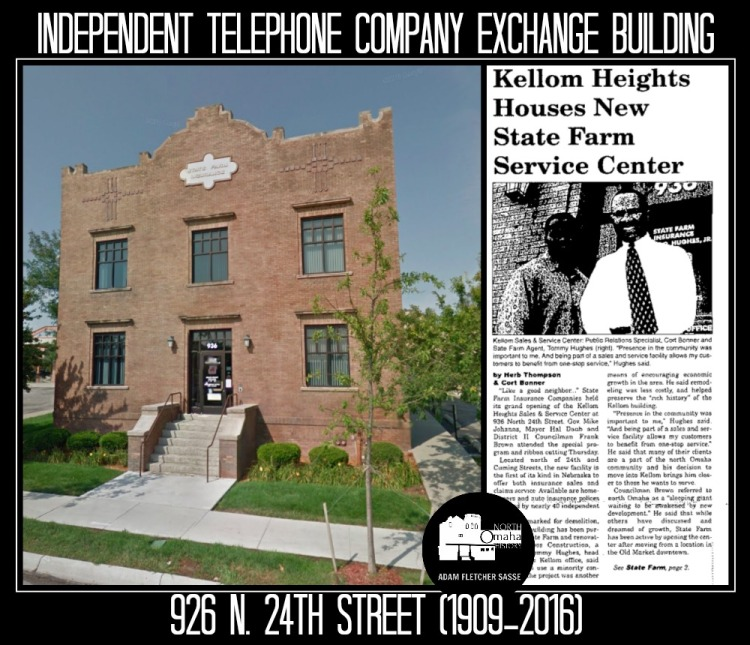 Independent Telephone Company Exchange Building, 926 N. 24th St., North Omaha, Nebraska