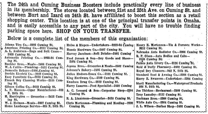 1927 Kellom Heights business listing, North Omaha, Nebraska