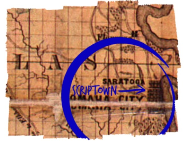 If Scriptown was on this 1856 map, it would have been here.
