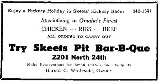 Skeet's Bar-B-Que, 2201 N. 24th St., North Omaha, Nebraska