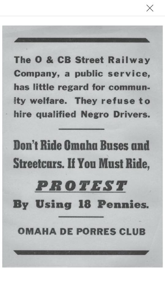 This is an original leaflet for the Omaha Bus Boycott by the DePorres Club.