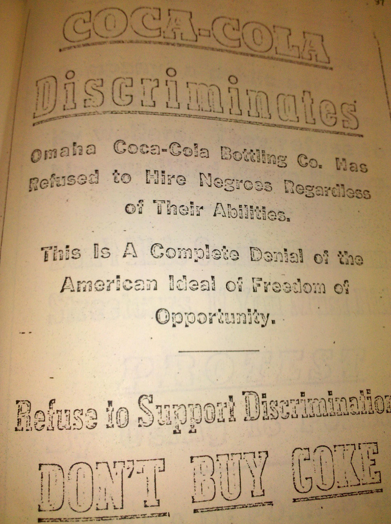 This is an original leaflet for the Coca-Cola Boycott by the DePorres Club.