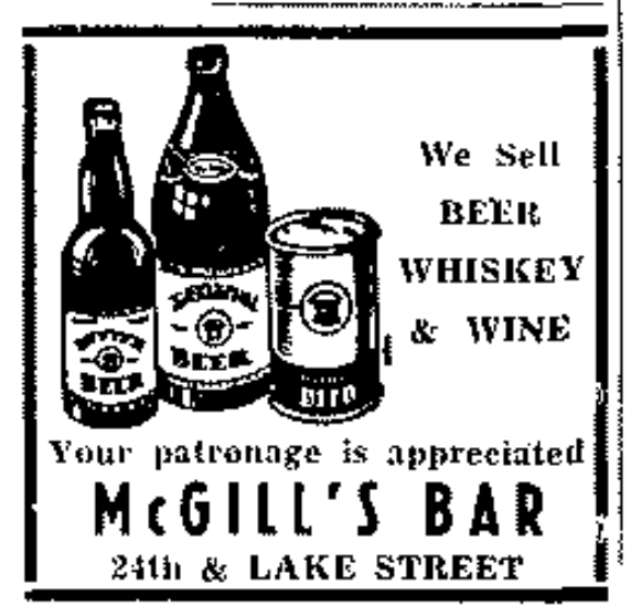 1950s ad for McGill's Bar