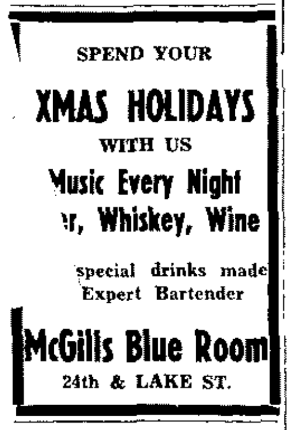 This is a 1940s ad for McGill's Blue Room at 24th and Lake