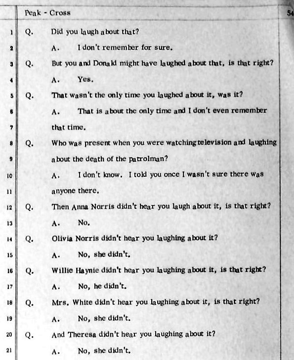 Text from Duane Peak trial testimony