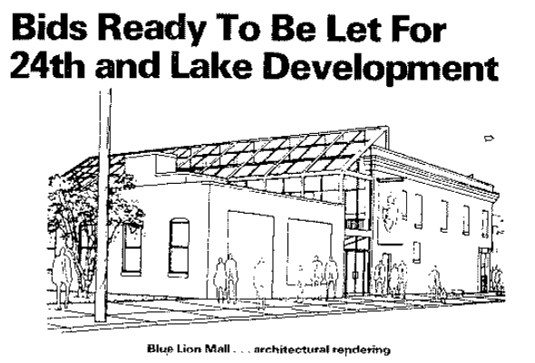 """This is a 1983 rendering of the """"Blue Lion Mall,"""" an architectural concept that was built."""