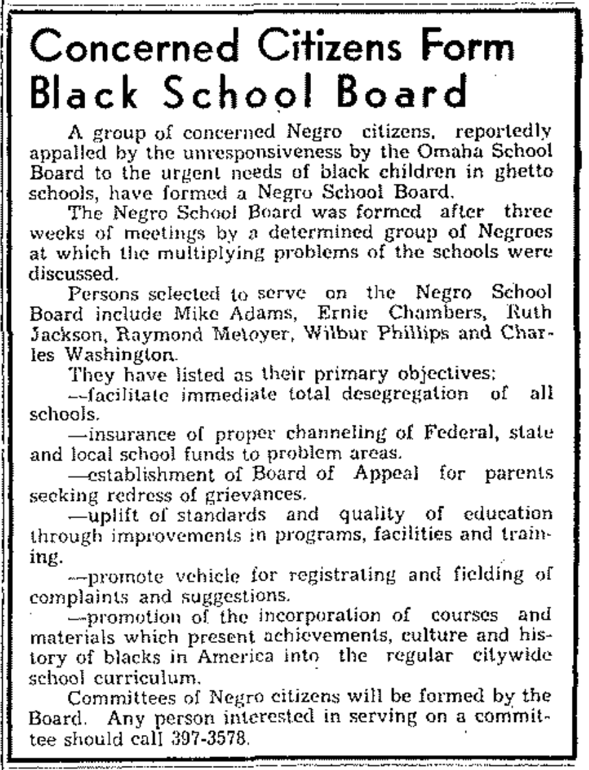 Omaha Negro School Board (1968)