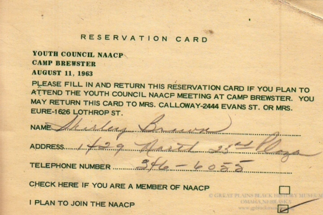 1963 Omaha NAACP Youth Council Camp Registration Card