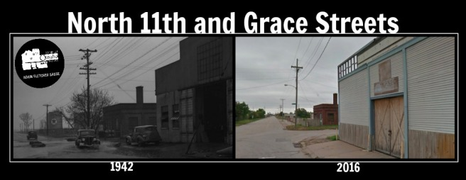 This is a then-and-now comparison of N. 11th and Grace Streets in the North Omaha Bottoms in 1942 and 2016.