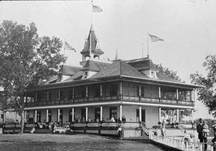 This is a photo of the Courtland Beach Clubhouse in the early 1900s, before it became the Omaha Rod and Gun Club.