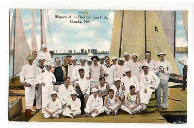 "A circa 1910s postcard that reads ""Skippers of the Rod and Gun Club Omaha Neb"""