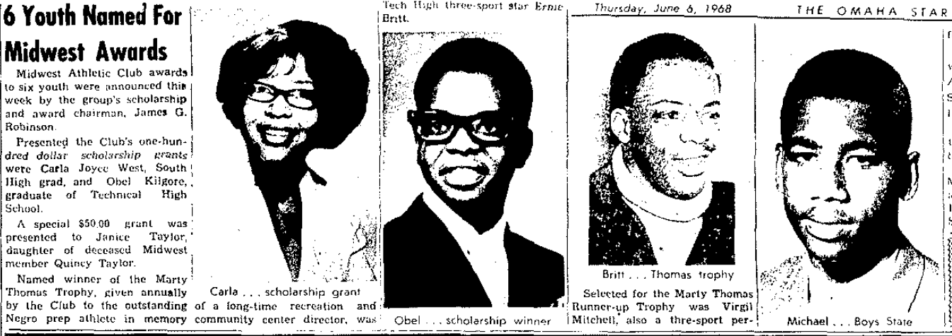 1968 Midwest Athletic Club Scholarship Winners