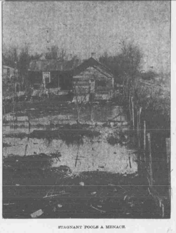 """This is a pic of the North Omaha Bottoms in 1906. The caption says, """"Stagnant pools a menace."""""""