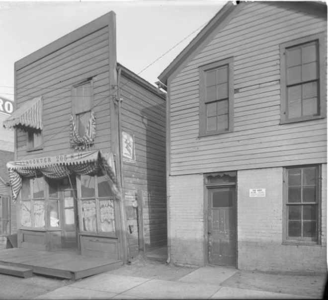 This is a 1912 pic of the Robert Slaughter Coffee House in the North Omaha Bottoms in 1912.