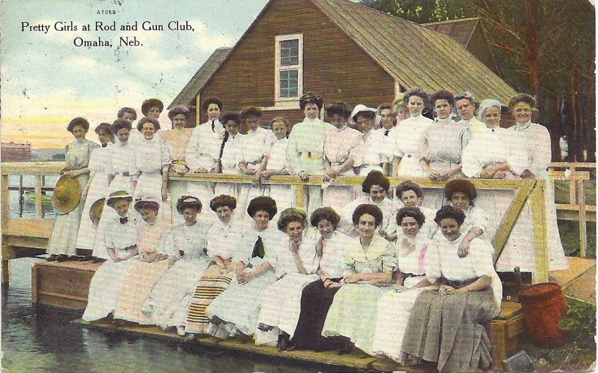 "A circa 1900s postcard that reads, ""Pretty Girls at the Rod and Gun Club Omaha Neb"""