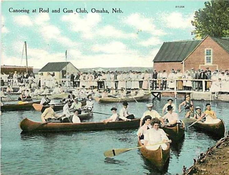 "A circa 1900s postcard that reads ""Canoeing at Rod and Gun Club, Omaha, Neb."""