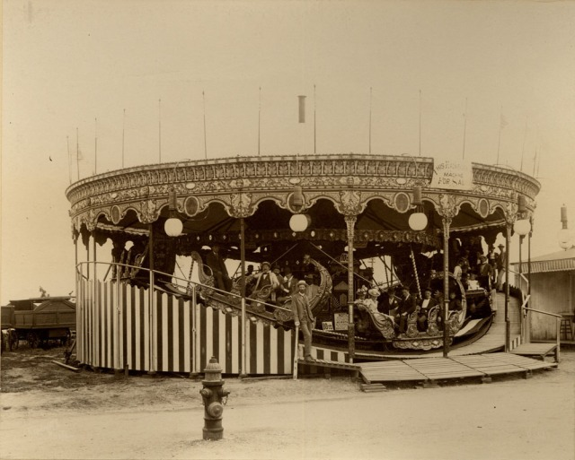 "This was the ""mini railroad"" aka carousel from the 1898 Trans-Mississippi Expo that was sold and moved to Courtland Beach in 1899."