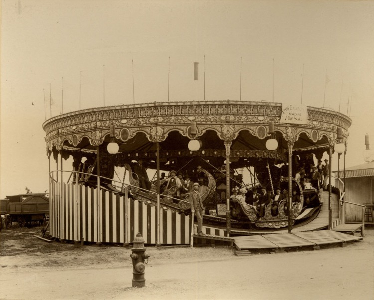 """This was the """"mini railroad"""" aka carousel from the 1898 Trans-Mississippi Expo that was sold and moved to Courtland Beach in 1899."""