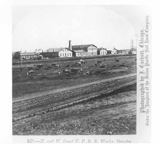 These are the Union Pacific Railroad Shops in Omaha, just south of the North Omaha Bottoms. This pic is probably from the 1870s.