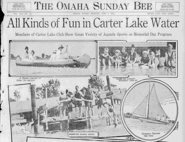 Carter Lake Club feature Omaha Sunday Bee 1916