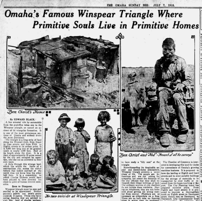 Omaha Bee Article on Winspear Triangle July 7, 1918
