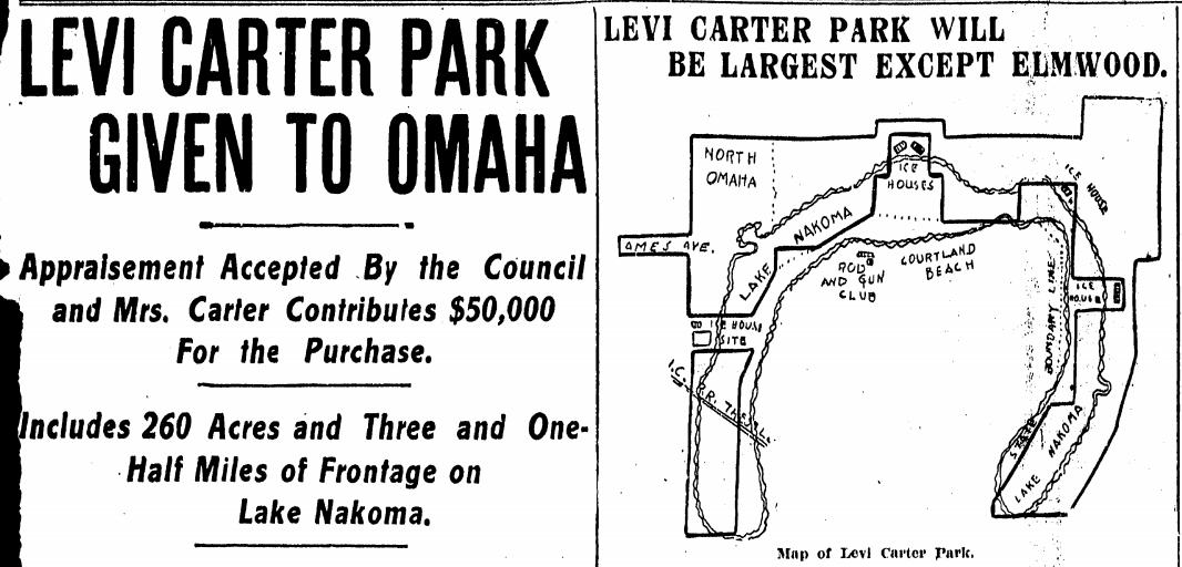 Levi Carter Park donation, 1908