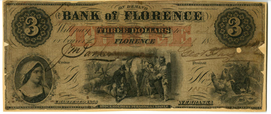 Bank of Florence $3 bill