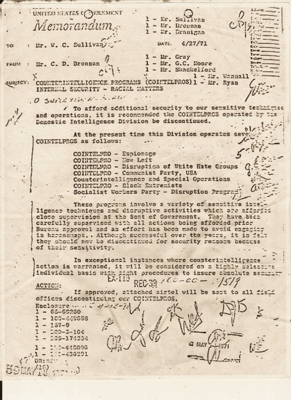 Ten days after the Minard murder trial Charles Brennan recommended terminating COINTELPRO following news reports on counterintelligence operations. Director J. Edgar Hoover shut down the clandestine program the next day.   (credit: Federal Bureau of Investigation)