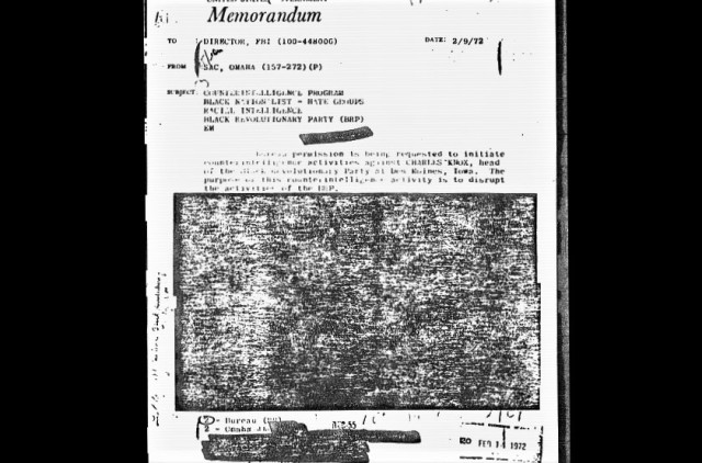 """The Omaha FBI office kept up its campaign against """"militants"""" and requested permission to conduct a clandestine action against Charles Knox ten months after COINTELPRO was terminated. FBI censors refuse to release details of the proposed misdeed. It is not known if J. Edgar Hoover approved the counterintelligence request. (credit: Federal Bureau of Investigation]"""