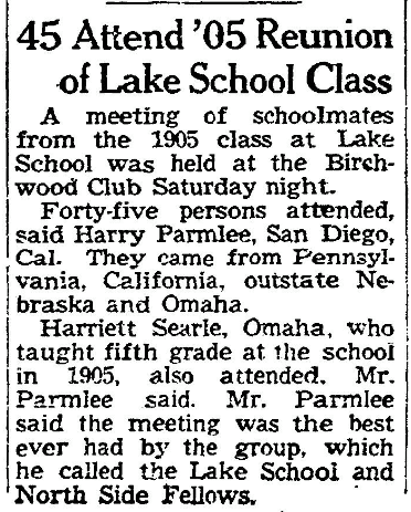 In 1955, Class of 1905 Lake School alumni had a 50-year reunion at the Birchwood Club. There were 45 people there, including a former teacher.