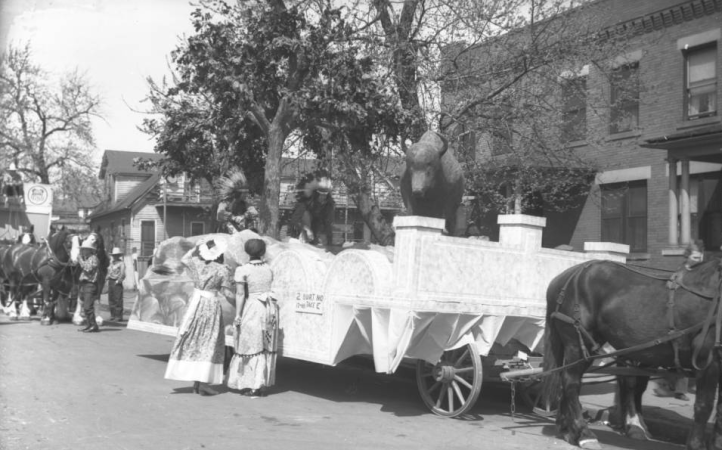 This is the 1939 Golden Spike Days Parade as it arrived in North Downtown at 17th and Burt Street.