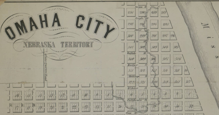 This is a cutaway from an 1854 map of Omaha City highlighting the North Downtown area. It was created by A.D. Jones for the Nebraska Ferry Company.