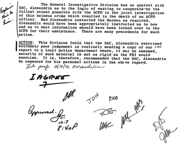 Charles Brennan approved withholding a FBI report from Omaha police in the Larry Minard murder investigation. Brennan later got in trouble for sharing a FBI report with Alexandria, Virginia police in a murder case. The FBI manipulated local police into unknowingly aiding COINTELPRO operations. (credit: Federal Bureau of Investigation)