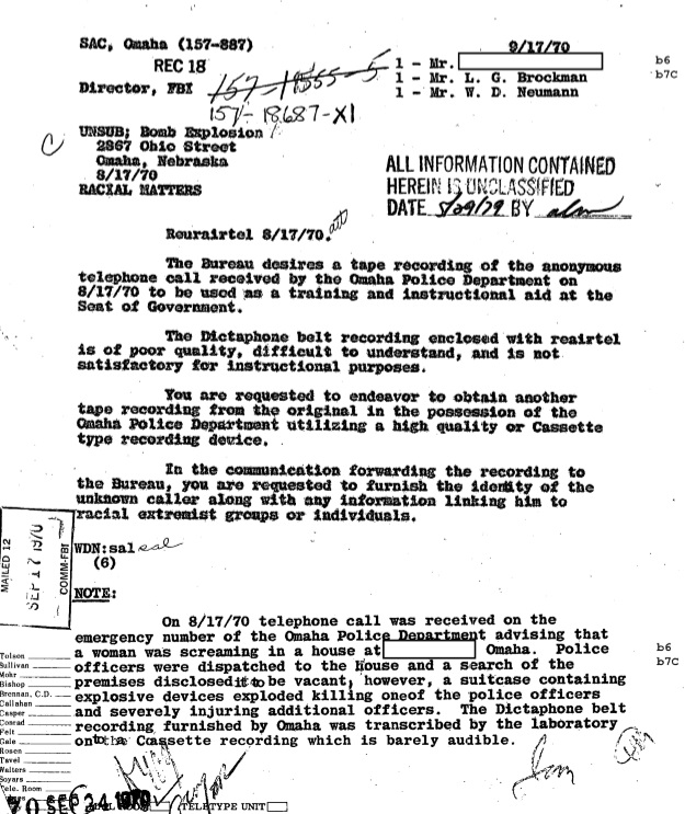 J. Edgar Hoover ordered Paul Young to obtain a better copy of the 911 recording for FBI training classes. FBI trainees listened to the deadly recording the jury never heard. (credit: Federal Bureau of Investigation)