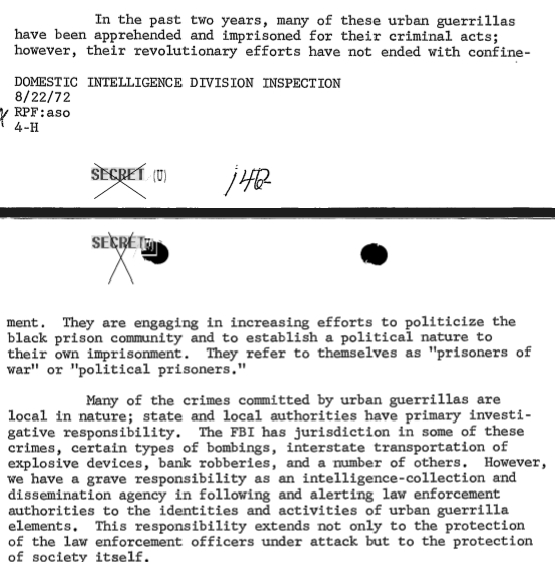 """A FBI inspection report on the Domestic Intelligence Division complained that imprisoned """"urban guerrillas"""" were calling themselves political prisoners. The irony is that the Bureau failed to see that COINTELPRO victims were jailed for their political beliefs. (credit: Federal Bureau of Investigation)"""