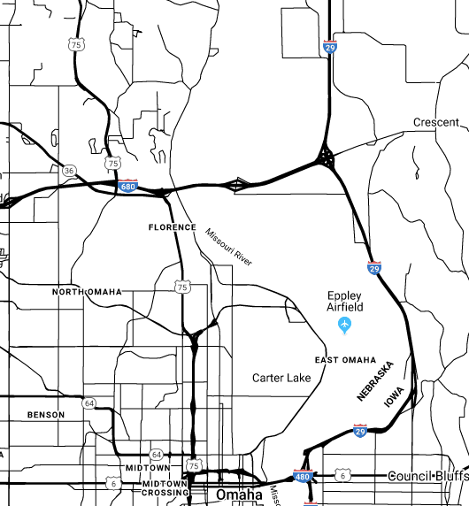 Map of North Omaha, Nebraska