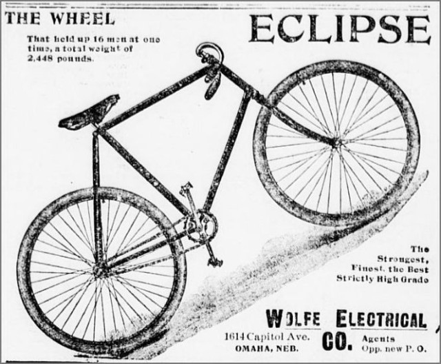 1896 ad for Wolfe Electrical Company, 1614 Capitol Ave., Downtown Omaha, Nebraska