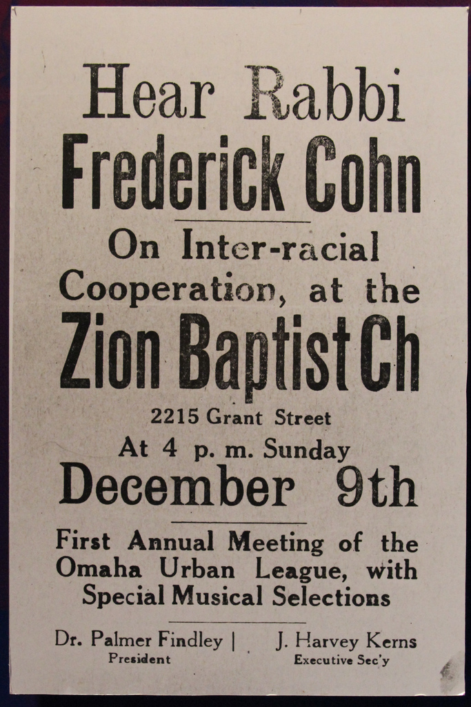 This is a 1927 ad for the first annual meeting of the Omaha Urban League, held at Zion Baptist Church and featuring Rabbi Frederick Cohn speaking on interracial cooperation.